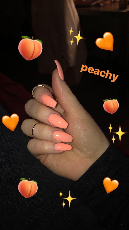 Nägel, Pfirsichacryl #peachideas