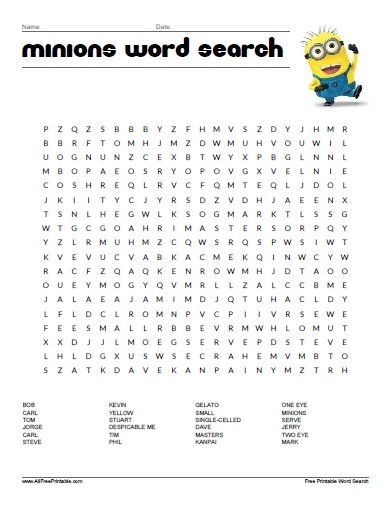 Free Printable Minions Word Search All Free Printable - origin of the word free