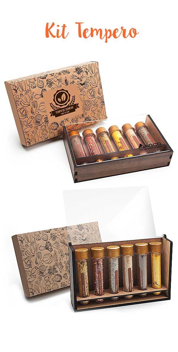 Kit Tempero com 6 Ampolas de Especiarias - Caixa d