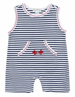400ef0dc56 Kissy Kissy Baby Boys Navy Blue Stripes / Red Crab Romper - Sleeveless