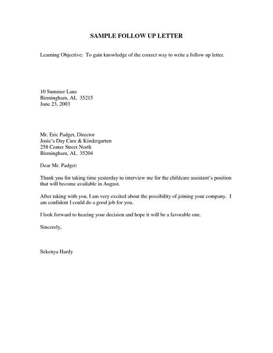 Sample Follow Up Email After Interview jobs Pinterest Job - follow up letter after resume