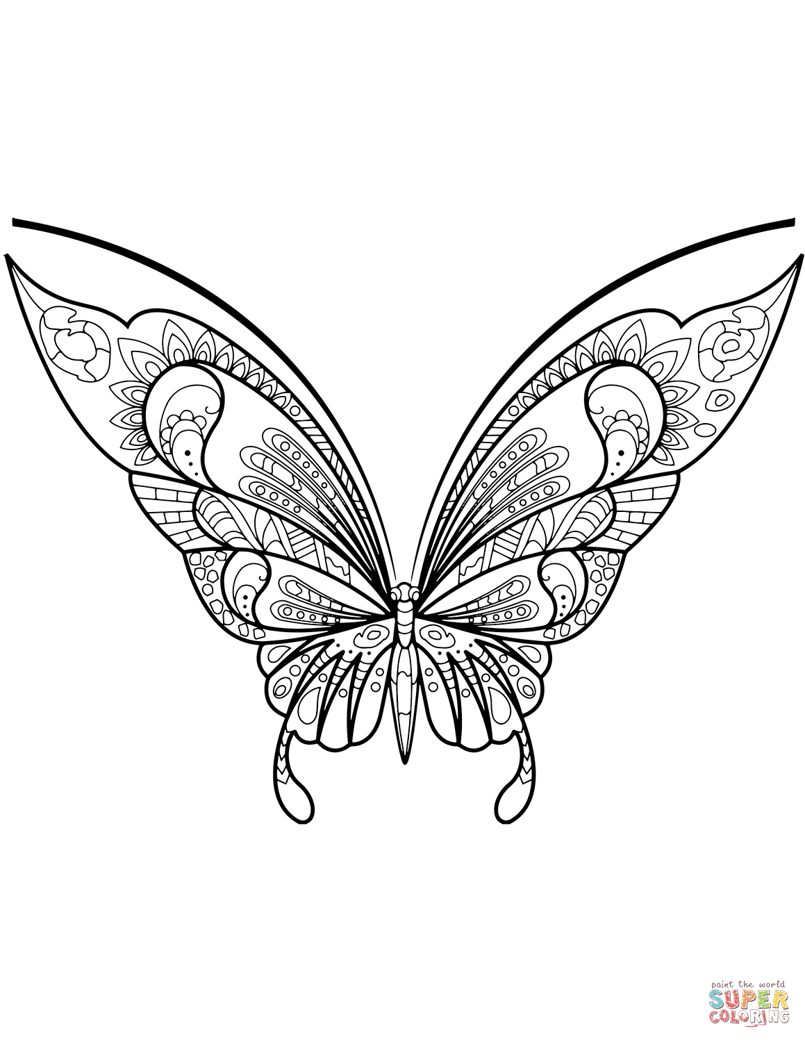 zentangle butterfly coloring page | free printable