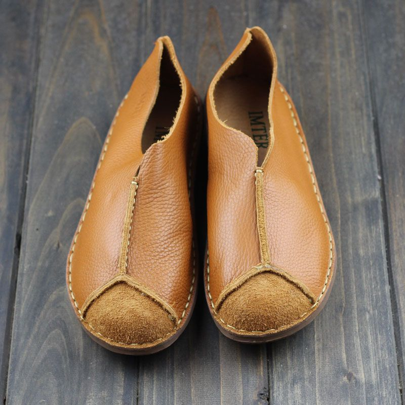 06ff9b3fd2856 Hand-made Flat Shoes Women Genuine Leather Slip on Loafers Ladies Moccasin Shoes  Flat Mori girl Footwear (568-1)