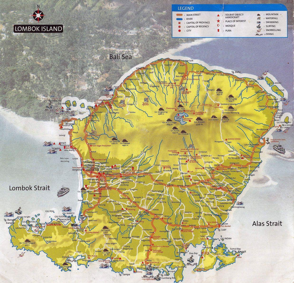 Aneka Wisata Pulau Lombok: Peta Wisata  Pulau lombok, Peta, Pulau