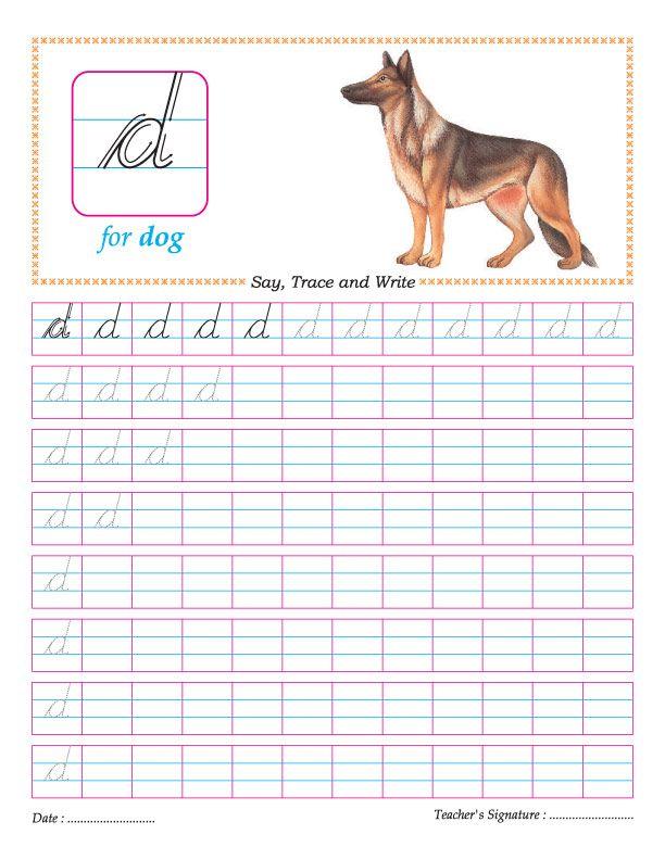 Cursive small letter d practice worksheet | cursive | Pinterest