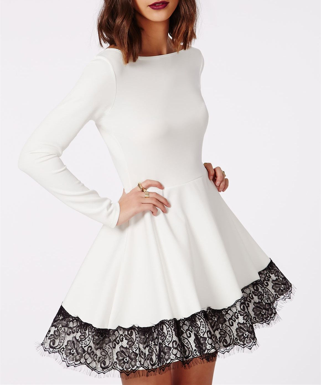 Elegant white homecoming dresslong sleeves prom dress with black