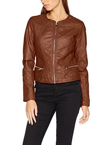 Kunstleder Jacke Faux Leather 5175 Jacke mit Zipper l/ässige Jacke mit Kapuze Malito Damen Jacke