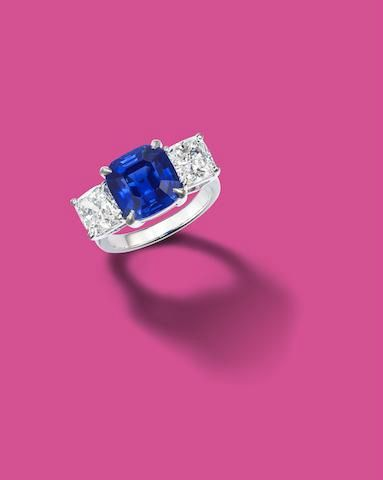 An important 6.50 carat square step-cut Kashmir sapphire and diamond ring
