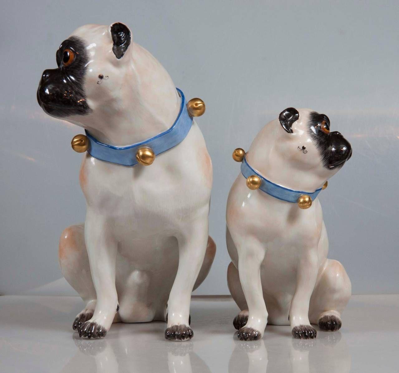 Pair Of Hallmarked Meissen Pug Dogs 2 Pug Dog Cute Pugs Pugs