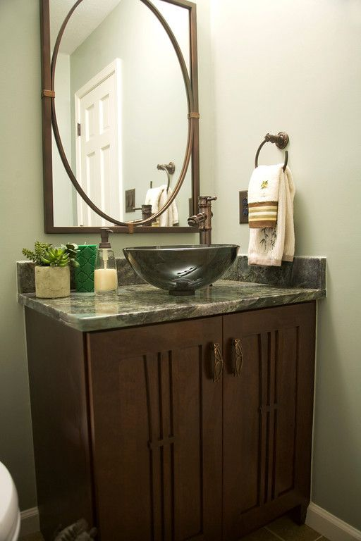 Powder Room Full Vanity With Glass Sink Bowl Granite Counter Bronze Faucet And Matching Mirror Glass Sink Cool Rooms Round Mirror Bathroom