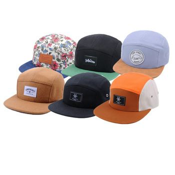 46bc140cb0a69 Multi-color Custom Blank 5 Panel Hats, Design Your Own Woven Label Camp 5  panel cap wholesale