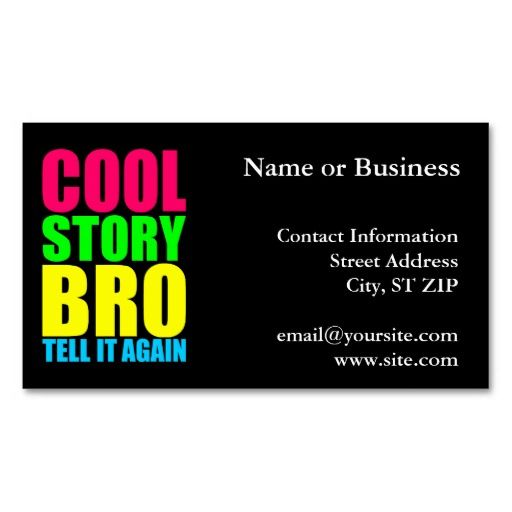 Neon Cool Story Bro Business Card Zazzle Com Make Business