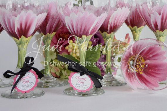 Pink Daisy Wine Glass Painted Wine Glass Flower Wine