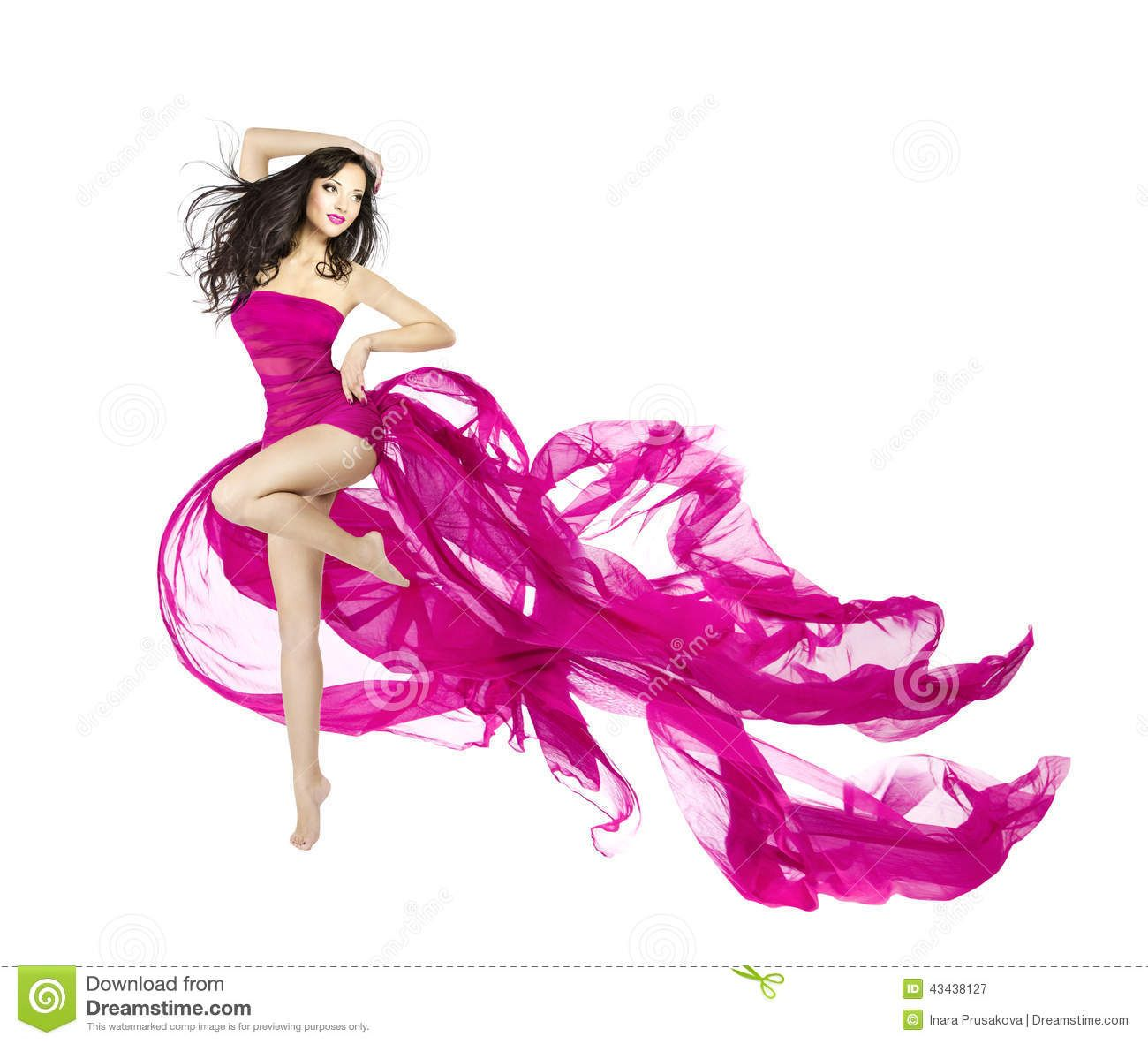 woman dancing in fluttering dress fashion model dancer