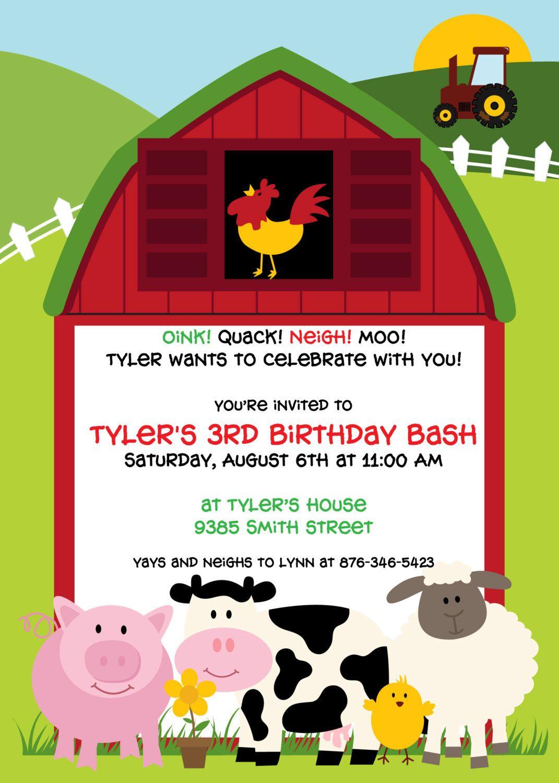 Barnyard Bash Birthday Party Invitation | Party invitations ...