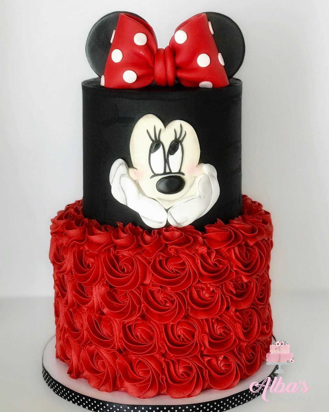 Red Black Rosette Minnie Mouse Cake Minnie Mouse Birthday Cakes Minnie Mouse Cake Minnie Mouse First Birthday