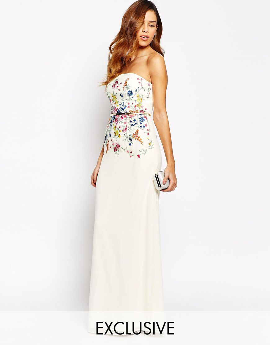 Cream and nude lace overlay bandeau maxi dress