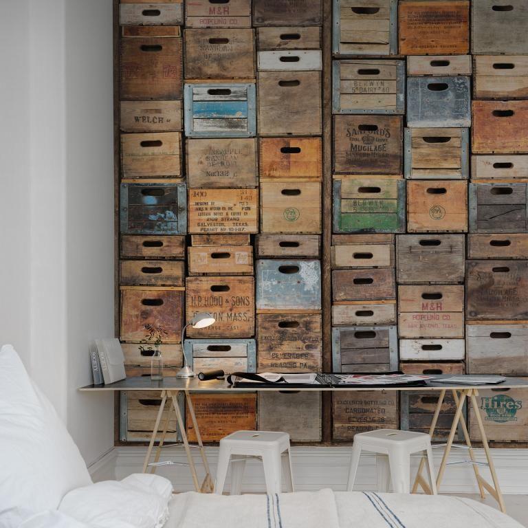 poster mural trompe l 39 oeil cr ant l 39 illusion de caisses en bois vintage empil es homemia. Black Bedroom Furniture Sets. Home Design Ideas