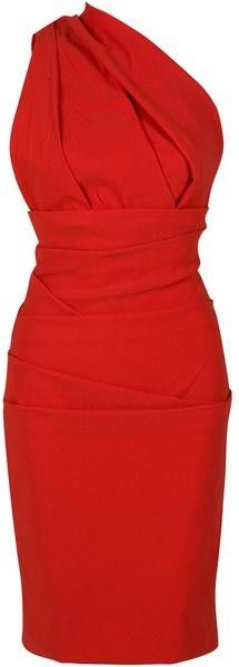 This would be the perfect red dress to wear to the wedding. It's simple and I love the one shoulder and bodice detail.