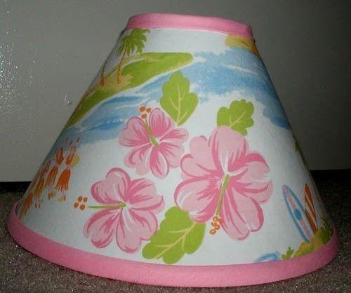 Pink Island Surf Hawaiian Lampshade Made 2 Match Pottery