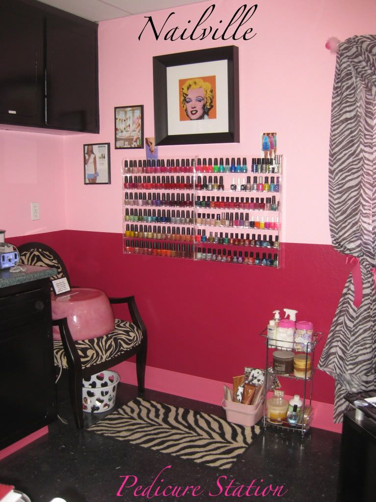 1st year Pedicure Station Area Complete with polish racks.