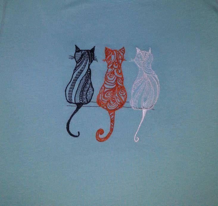 Three Cats Machine Embroidery Design Free Machine Embroidery