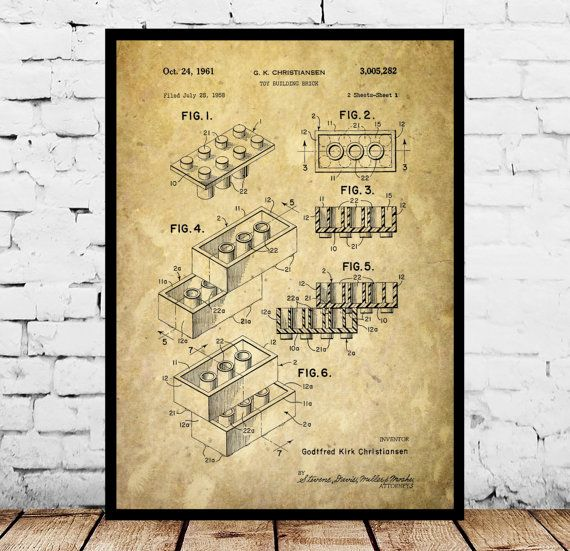 Lego Building Blocks Poster, Lego Building Blocks Patent, Lego Building Block Art, Lego Building Block Print, Lego Decor by STANLEYprintHOUSE  0.79 USD  Lego Building Blocks Poster, Lego Building Blocks Patent, Lego Building Block Art, Lego Building Block Print, Lego Decor  This is a vintage patent print. The Lego Building Block from 1958.  This poster is printed using high quality archival inks, and will be of museum quality. Any of ..  https://www.etsy.com/ca/listing/494972867/le..