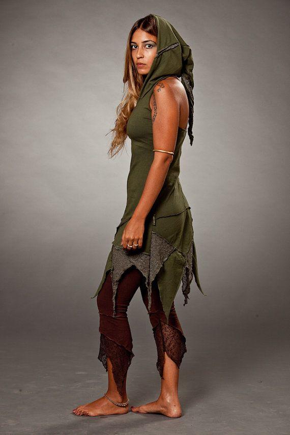 Tribal Hood Dress Gypsy Dress Green Fairy Pixie Hoodie Festival Dress Elven Dress Tribal Clothing Bohemian Dress Pixie Hood Dress