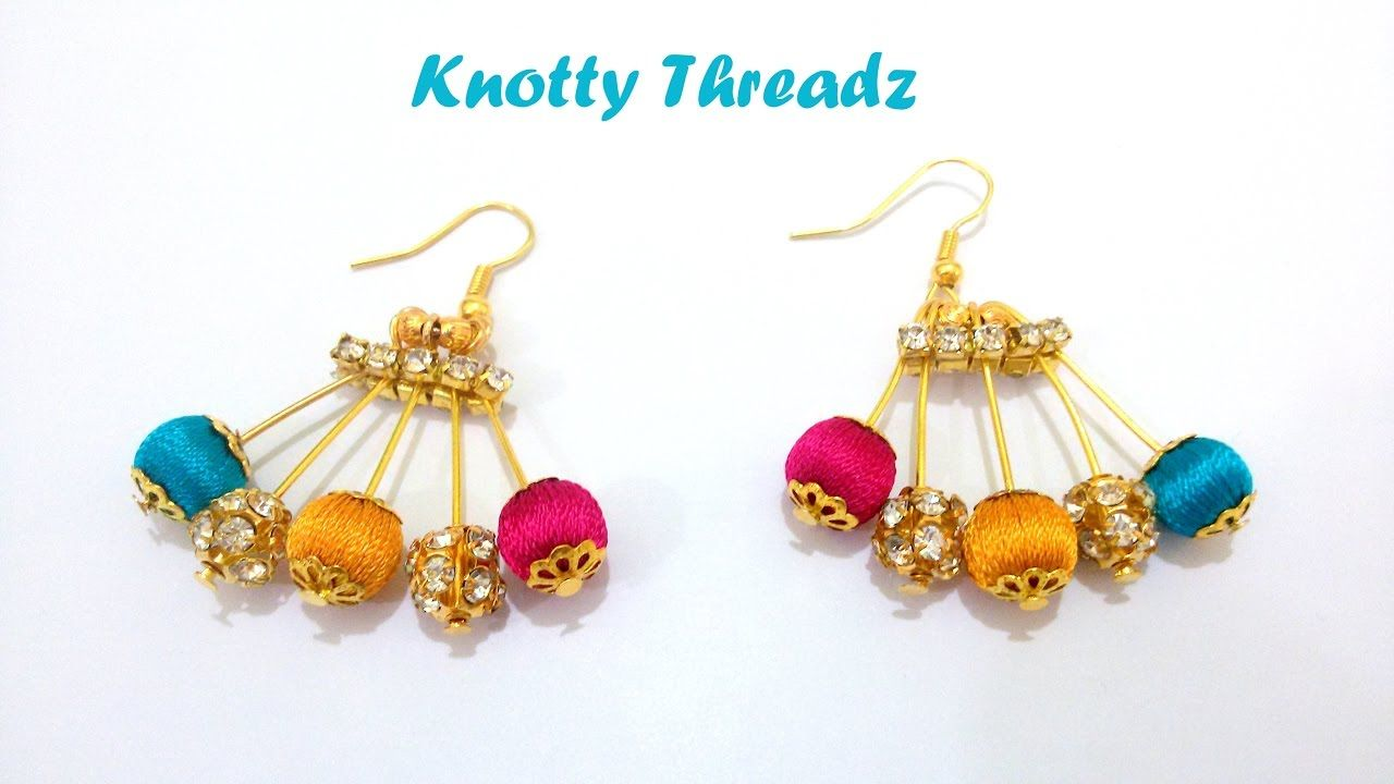 How to make Designer Silk Thread Earrings using Beads at Home ...