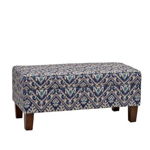 Blue Ikat Storage Bench | Kirklands 17W X 18H X 38 $180