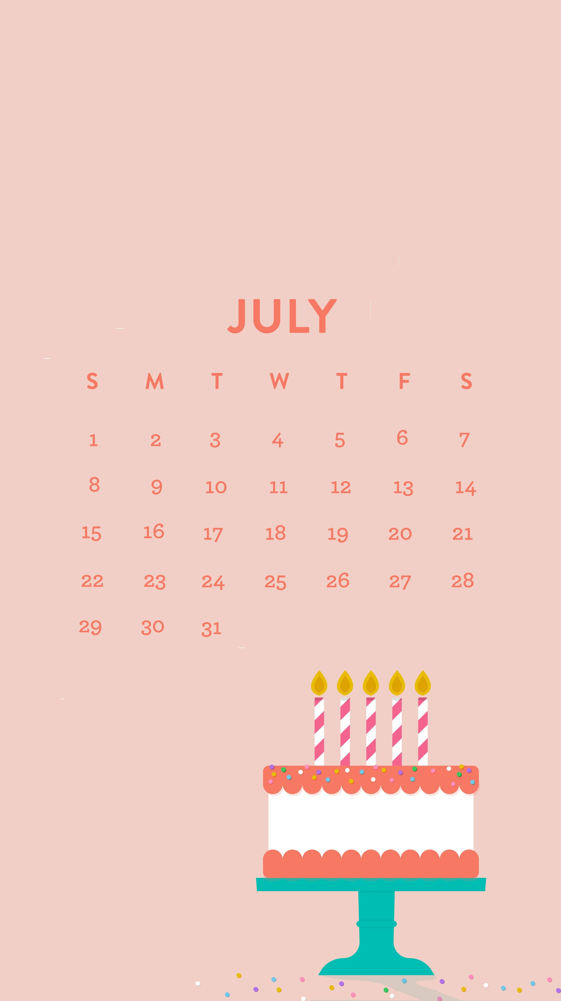 Free July 2018 iPhone Calendar Wallpapers | Calendar 2018 | Calendar wallpaper, Calendar, Free ...