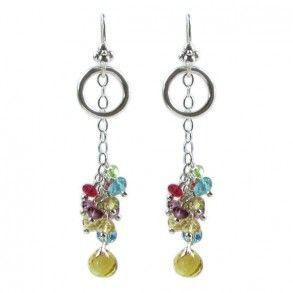 Laura Gibson Silver, Rhodolite, Spinel, Peridot, Blue Topaz Earrings - 2 inches long