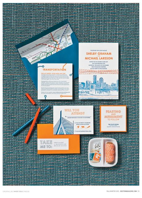 Boston Themed Wedding Invitations