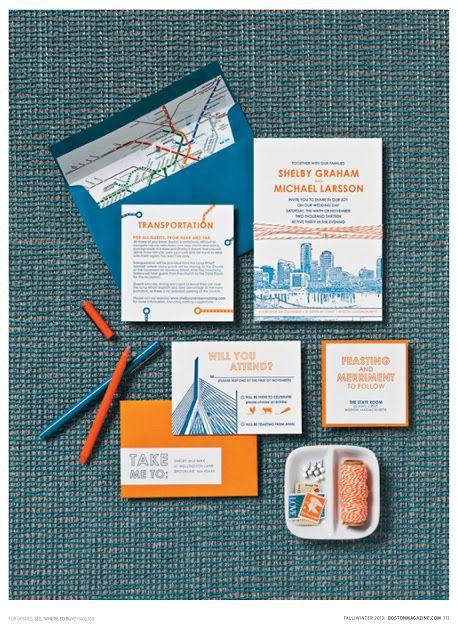 Boston Themed Wedding Invitations
