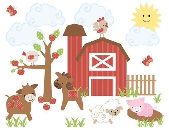 FARM ANIMAL NURSERY Decor Decal Wall Art Barnyard Mural Stickers - Barnyard nursery wall decals