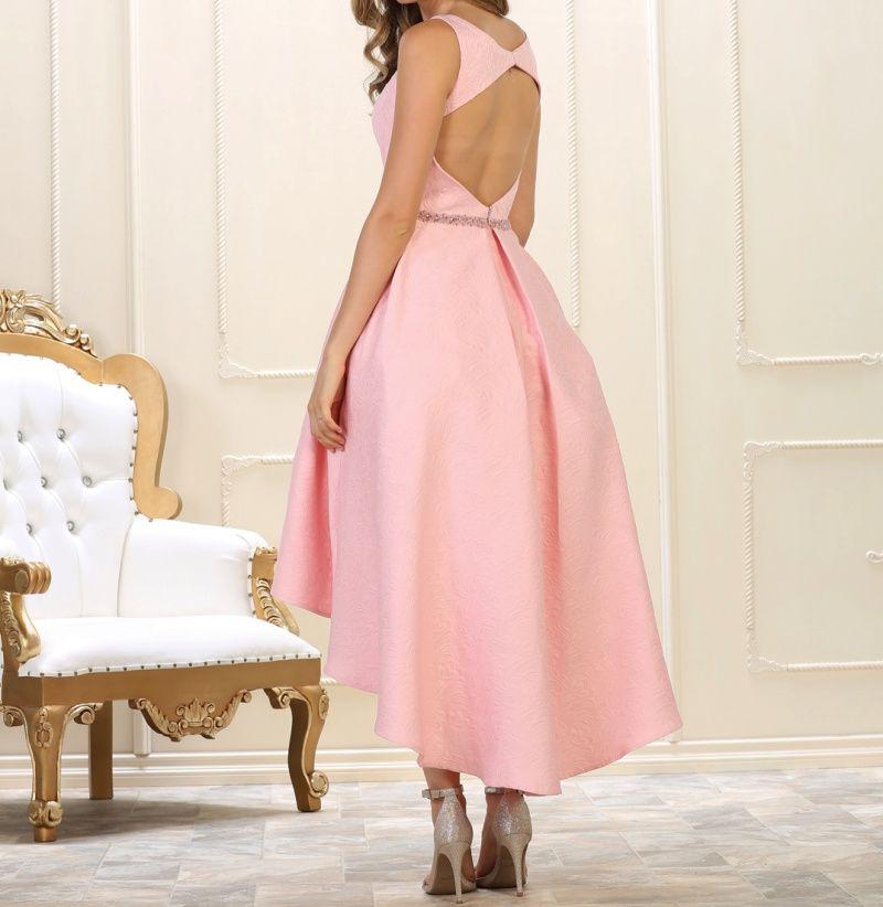 5fec64508 Vestido de fiesta con falda asimétrica mas larga por detrás para bodas.  Vestido para convidada