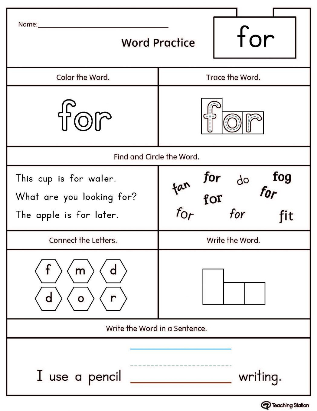 Work Sheet For Kindergarten The Word With And
