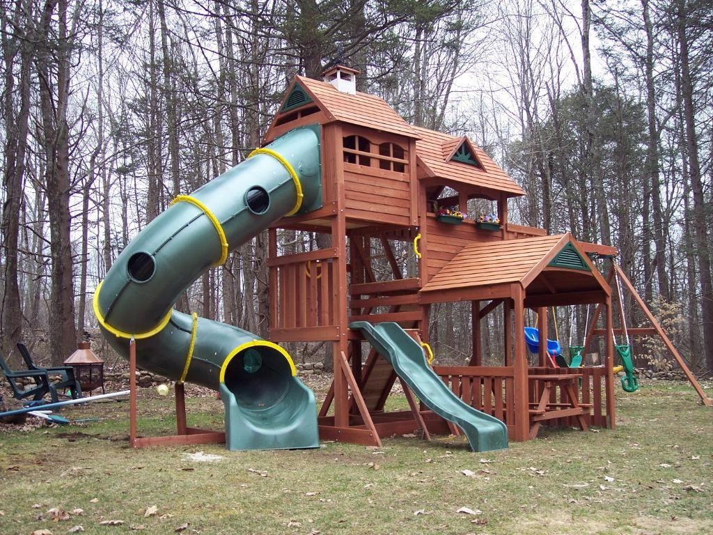 Kids outdoor playsets plans big backyard lexington wood for Wooden jungle gym plans