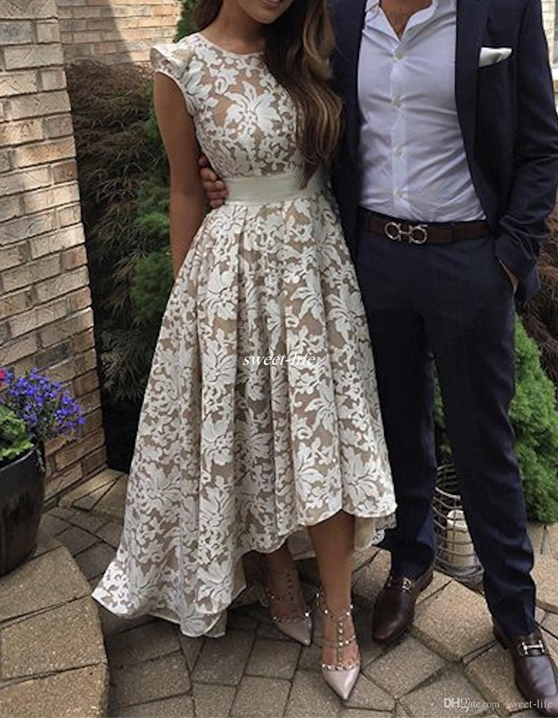 High low prom dresses sexy champagne lining vintage lace