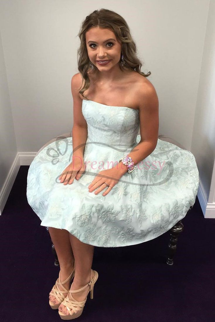 Princess strapless short mint green homecoming dress in party