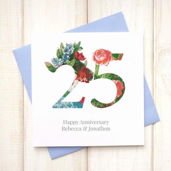 Wedding Anniversary Card - Botanical Wedding Card - Silver Wedding Card - Golden Wedding Card - 1st Wedding Anniversary Card - Typographic - Etsy - LetsDreambyChiChiMoi