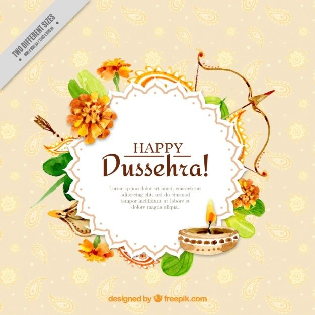 Download Watercolor Dussehra Background With Ornam