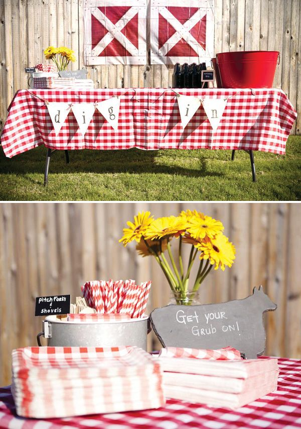Like The Picnic Table Cover Add Some Cute Barnyard Decorations And This Would Be Perfect