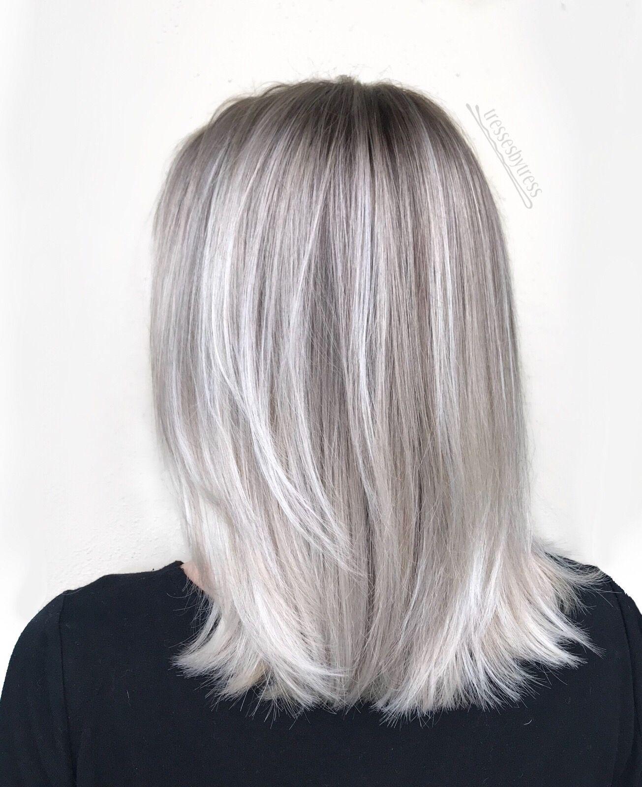 Icy White Platinum Blonde Balayage Lob Short Hair Balayage Hair Blonde Long Platinum Blonde Balayage Balayage Hair Blonde