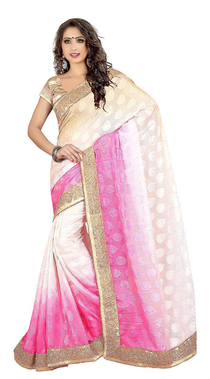 Ostentatious White And Pink Georgette Jacquard Kitty Party Saree