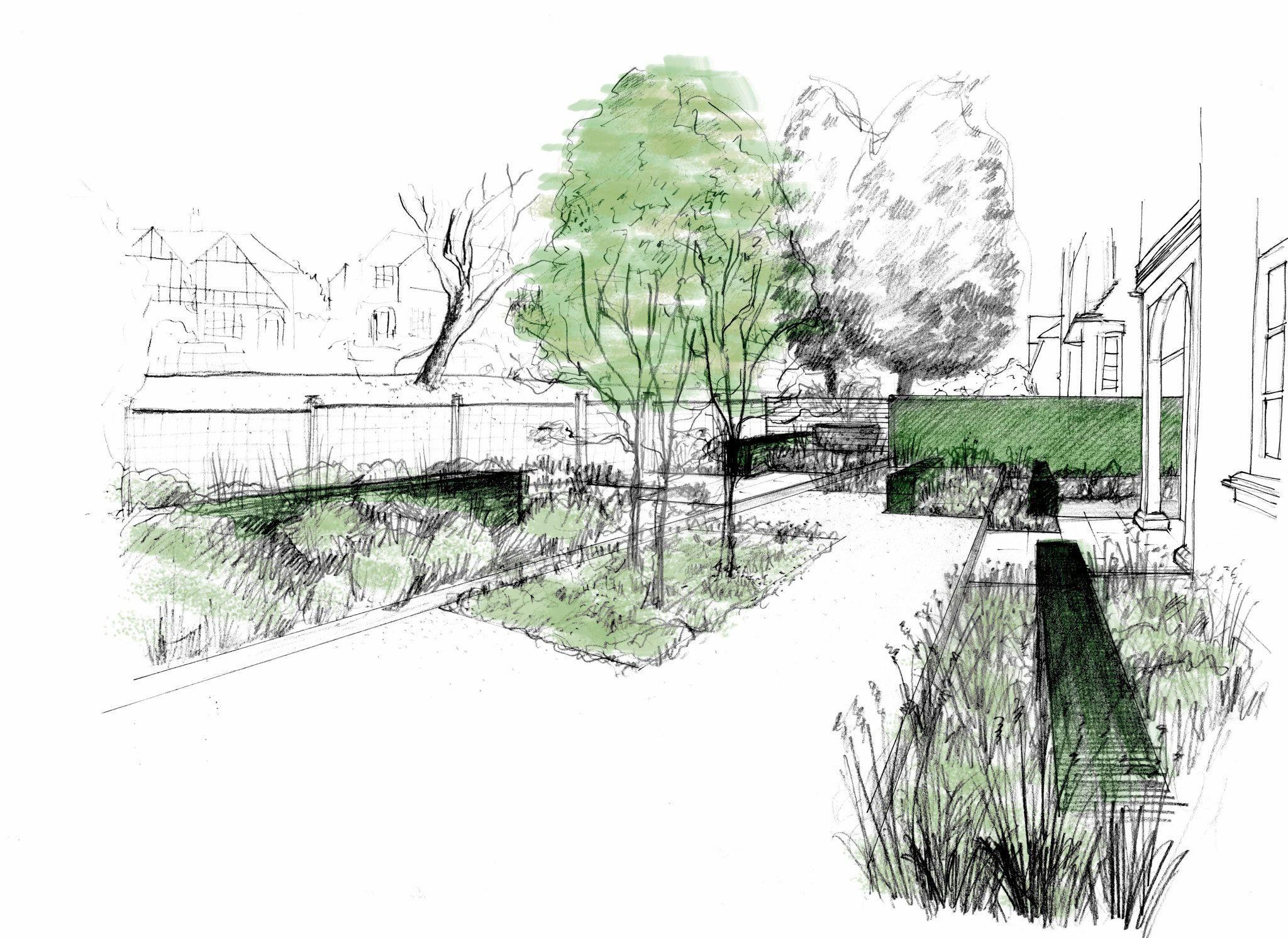 London garden designer dessins et perspectives for Croquis jardin paysager