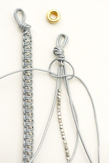 Relativ Easy tutorial - leather cord macrame with beads . . . . ღTrish W  HN92