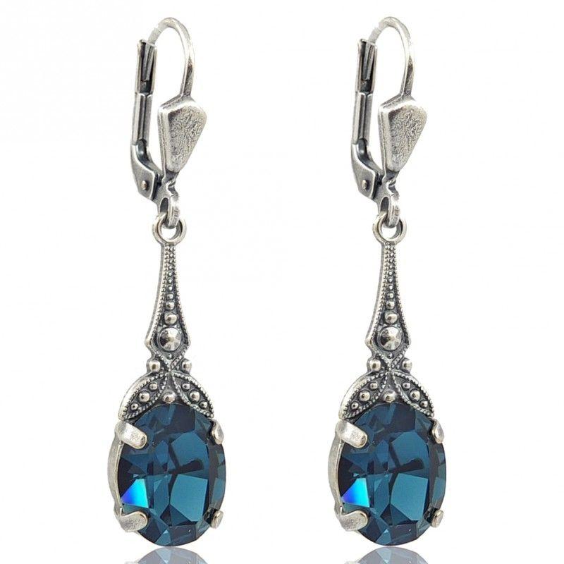 Jugendstil Ohrringe mit Kristallen von Swarovski® Blau - Farbe Silber  Montana - Made in Germany 75da1d9c47e