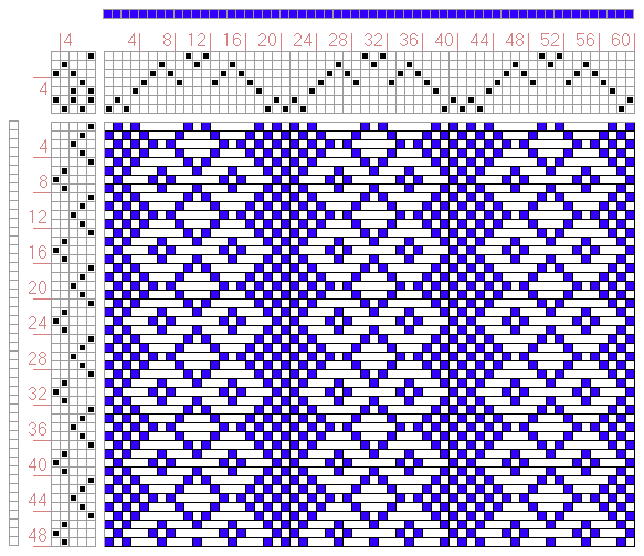 Hand Weaving Draft: No, 16, Checked Dimety., J. and R. Bronson, 7S, 5T - Handweaving.net Hand Weaving and Draft Archive