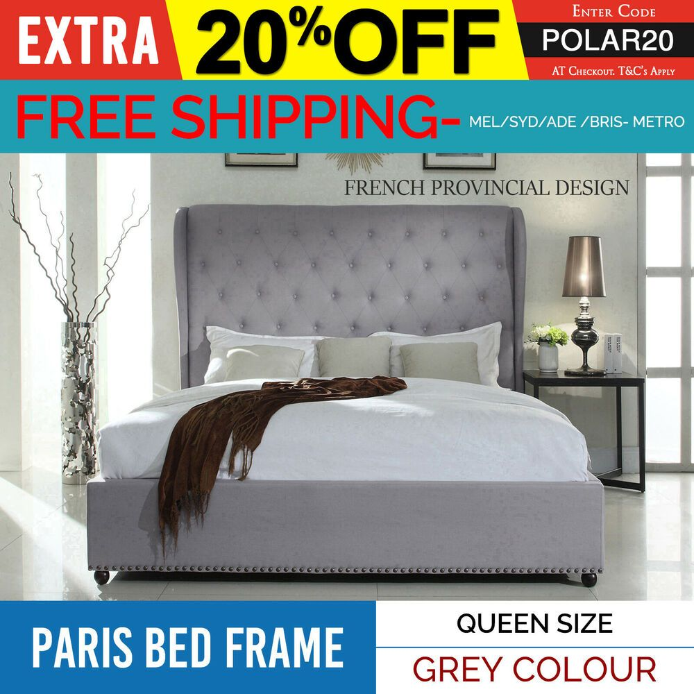 Bed Frame Queen Grey Fabric Upholstered French Provincial Wooden